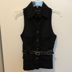 Black vest with button and belt detail